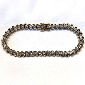CZ Tennis Bracelet Set in 8kt Gold